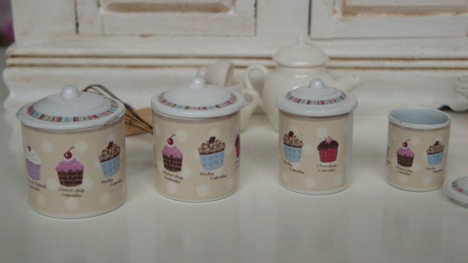sweetest cupcakes kitchen metal canisters for dollhouse
