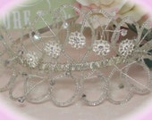 Abigal -  crystal, silver lined seed beads and diamante flower tiara