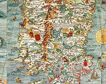 Old Vintage Map of Norway Sweden Scandinavia Antique Norwegen 1529 Olaus Magnus' detailed map of Scandinavia