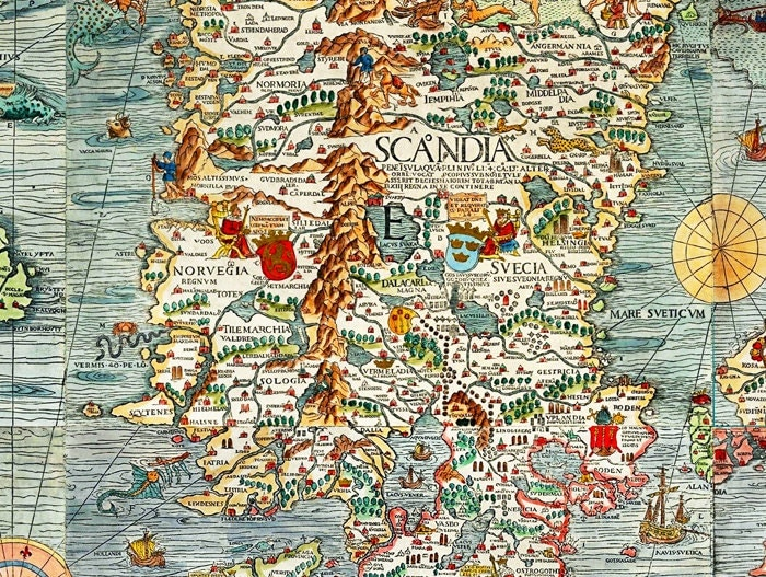 Old Vintage Map Of Norway Sweden Scandinavia Antique Norwegen - Norway map detailed