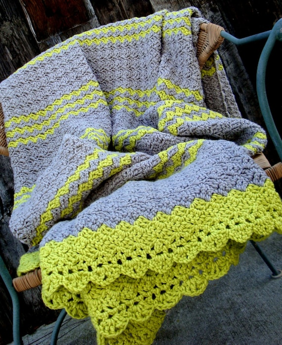 afghan blanket crochet gray grey with lime green lap blanket. Black Bedroom Furniture Sets. Home Design Ideas