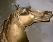 Reserved French vintage gold tone solid bronze  horse shoe horse sculpture  home deco  tray metal sculpture animal