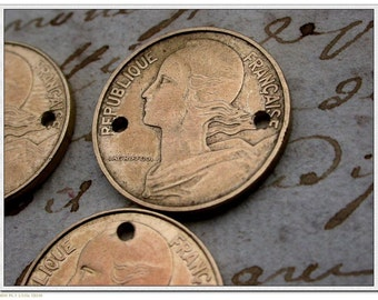 20mm and 24mm  8pcs French old coins vintage coins 1970s 1980s 1990s  vintage charm drilled gold brass coins 2holes connector pendant