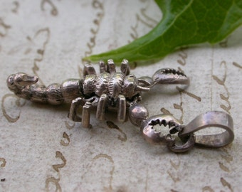 French vintage sterling silver scorpion medals stamped silver stamped articulated