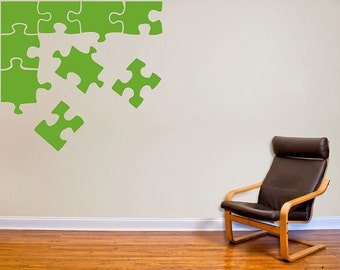 Colored Puzzle Pieces Wall Decal