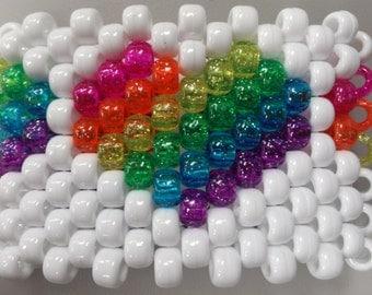 Rave Rainbow Glitter Heart Kandi Cuff