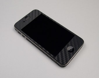 For Apple iPhone 4 4S Model A1332, A1349, A1387  2 set Black Carbon Fiber Protector Decal Skin Body Wrap 6pcs