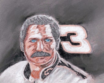 "Dale ""The Intimidator"" Earnhardt NASCAR Hall of Fame Driver Reproduction Pastel 8x10"