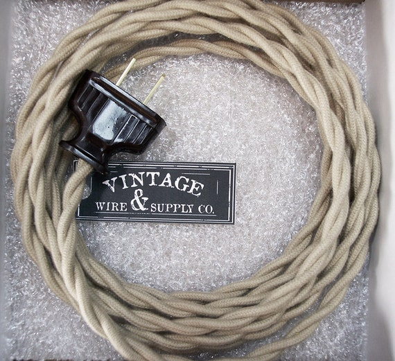 covered wire lamp cord 8 ft cordset vintage style lamp wire
