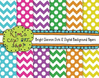 Chevron Polka Dot Paper Pack Bright Colors for card making, digital scrapbooking, stationery design, Commercial Use Included