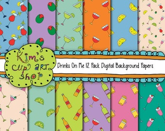 Party Drinks Digital Background Papers, party drinks, martini clip art, digital paper pack, digital paper sheet, digital background paper