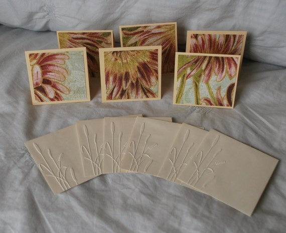 Set of 6 mini note cards with embossed envelopes  Blank Note Cards  Love notes