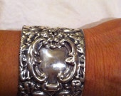 Very heavy sterling silver wide cuff bracelet from antique brush back