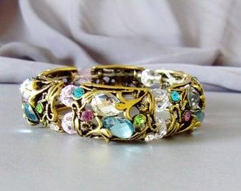 Cuff Bracelet Filigree Floral Swarovski Crystal Stretch Multicoloerd Bracelet Handmade Jewelry READY TO SHIP