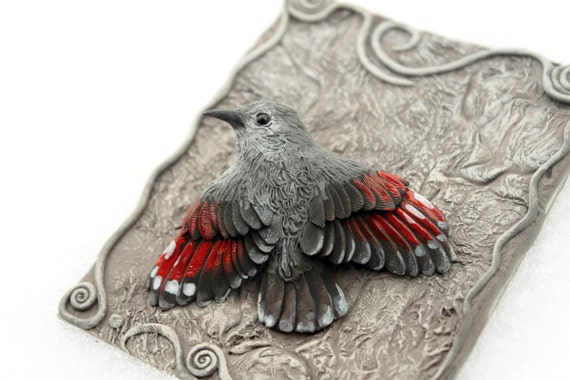 Bird Figurine Bird Sculpture Totem Wall Creeper, little cute bird, wildlife art, mountains life bird