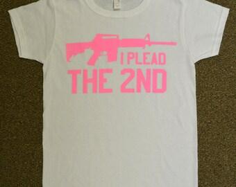 I Plead the 2nd Ladies White / Pink T Shirt Gun AR 15