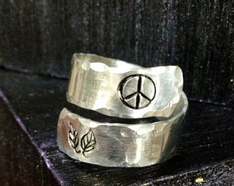 Spiral Ring, personalized ring, engraved ring, peace ring, gypsy ring  SPRALH01
