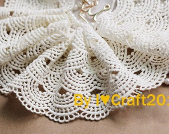 Cotton Lace Trim Off White Cotton Wave Venice Lace Hollowed Out Lace Scalloped Lace Trim 3.74 Inches Wide 1 Yard Costume Headware Supplies