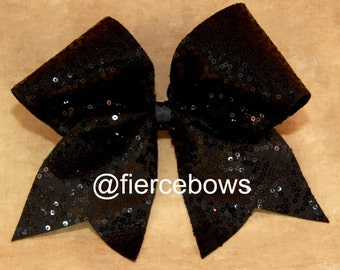 Black Squiggle Sequin Cheer Bow