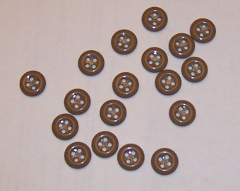 "12 - 14mm (9/16"") - Tan/Light Brown - 4-hole plastic buttons - FREE S&H."