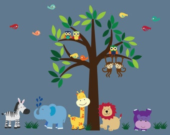 Tree Wall Fabric Decal Jungle Wall Decal - BBB101
