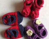 Knitted Baby Shoes, Girls Shoes, 3 - 6 Months, Cashmere Shoes