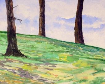 Three Trees Original Watercolor