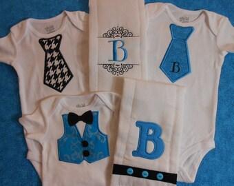 Custom Appliqued Baby Boy Layette Set