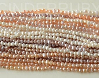 White Baroque Nugget Freshwater Pearls,Potato Pearls,Peachy Pearls,Mauve Pearls,4-5 mm,Full Strand,Jun Birthstone,Beads for Jewelry Making