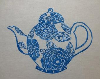 Block Printed Blue Tea Pot