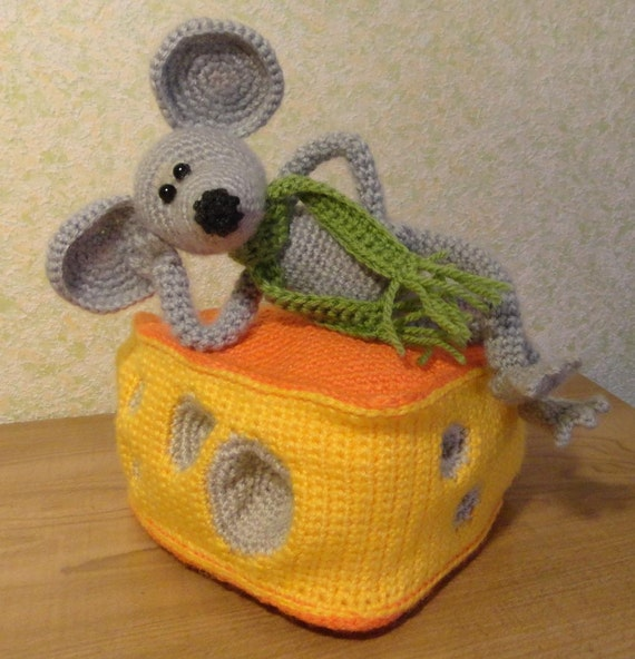 10% discount with coupon code Mouse and Cheese soft toy Hand crochet Stuffed Animals Amigurumi. Made to order.