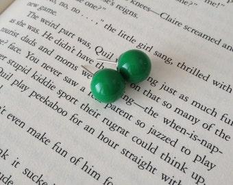 Green Round Ball Earring Studs