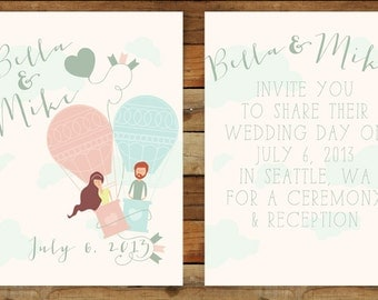 Carried Away Hot Air Ballon Custom Wedding Invitation /// Illustrated Couples Portrait /// DIY Wedding Invites