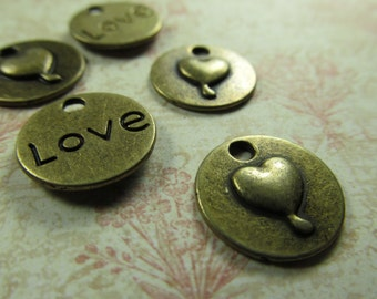 Vintage Antique Brass Love Charm Findings