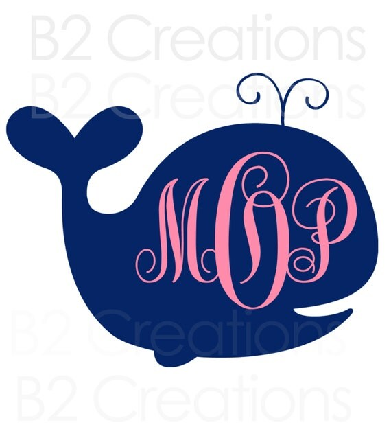 "Items Similar To Whale Monogram Decal 4"" On Etsy"