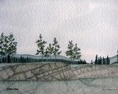 Rocky Ridge - 5x7 or 8x10 Archival Giclée Print - Gouache, Watercolour Archival Print - SFA (Small Format Art) Gray, White, Snow, Trees