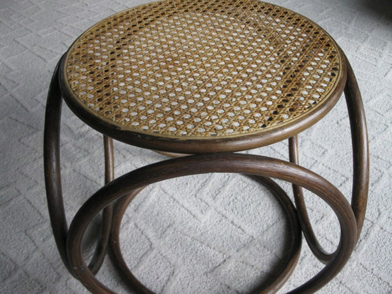 Gorgeous Vintage Wicker And Bent Wood Ottoman Foot Stool
