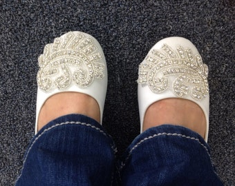 Flat Bridal Shoe,Rhinestone Shoe,Wedding Shoe, Flat Rhinestone  Shoe Size 8
