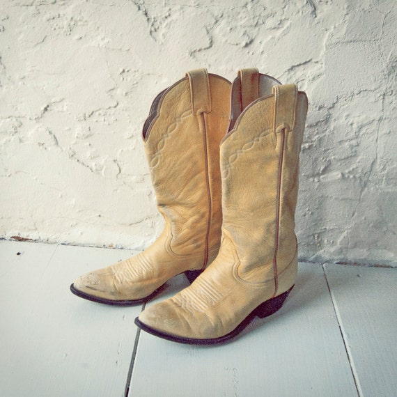 vintage soft leather beige cowboy boots by larry mahan by