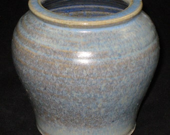 Small Handmade Light Blue Crystalline Vase