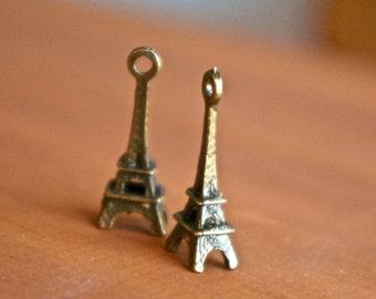 Bronze 3D Eiffel Tower Charm- Set of 2 -66-