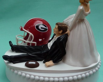 Wedding Cake Topper University of Georgia Bulldogs UGA Dawgs Football Themed w/ Garter Bride Drags Groom Humorous Groom's Cake Top Sports