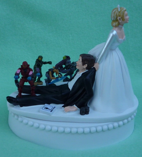 Wedding Cake Topper Halo Video Game Player Gamer Gaming Themed w    Video Game Wedding Cake