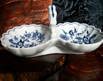 Blue Danube China Scalloped Candy Dish in blue onion design