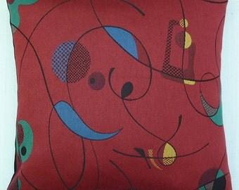 "Mid Century Modern - Eames Era look - accent throw Pillow -  Barkcloth reproduction -  17"" X 17"""