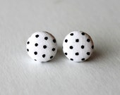 White with Black Polka Dots Fabric Covered Button Earring Studs Surgical Steel