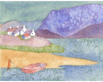 Plockton Watercolor Giclee Print  -  Highlands, Scotland