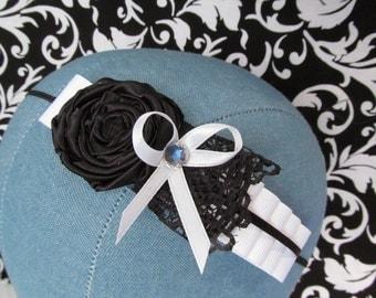 Ribbons & Lace - Black/White Headband  Baby/Girl/Infant/Photo