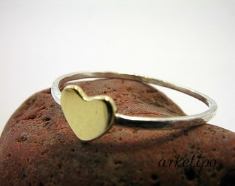 Stack Ring made of sterling silver and brass with Heart - Stack Ring