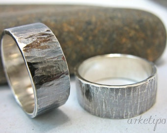 Couples Ring.. Oxidized Wedding Ring Set..  Made of Sterling Silver - Hand Stamped - Hammered Band
